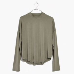 Madewell Green Sandwashed Mock Neck Top SM